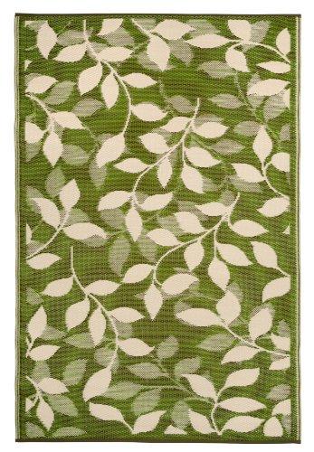 Fab Hab - Bali - Waldgrün & Creme - Teppich/ Matte für den Innen- und Außenbereich (120 cm x 180 cm) (Indoor-outdoor-teppich Sie Blättern)