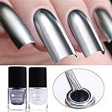 coulorbuttons 6ml Ur azúcar + capa base de juegos metálico cromado con laca de uñas esmalte de uñas