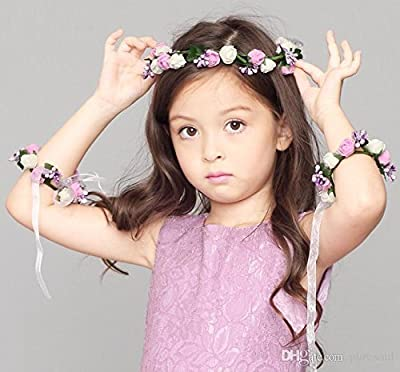 sanjog Bohemian Rosie Purple White Floral Adjustable Tiara Crown and 2 Hand Puff Wrap for Girls