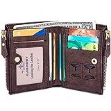 Amody Herren brieftasche PU Leder RFID-Blockierung LockenBuckle portemonnaie Bifold geldbörse Kaffee Brieftasche