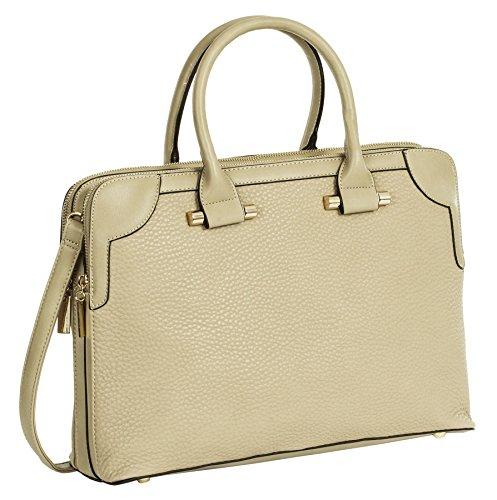 Big Handbag Shop donne designer doppio vano maniglia superiore borsa a tracolla Dark Beige