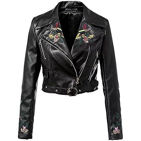 ZQQ Europa de las mujeres y el estilo de otoño/invierno moda solapas bordadas slim de manga larga negro PU corta capa del montar a caballo , black ,