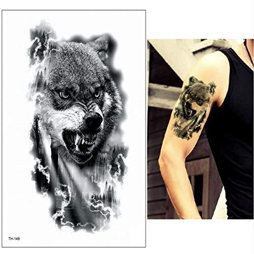 adgkitb 3pcs wasserdicht temporäre Tätowierungen Männer Tattoo Wald Wolf Tattoo TH149 21cmx15cm