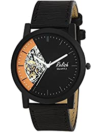 RELISH RE-S8127BB Black Slim Analog Watches For Men's And Boy's