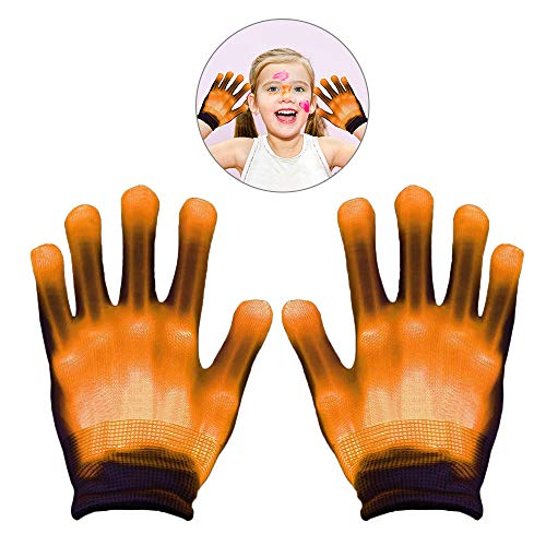 WISHBB LED Handschuhe, Geschenke für 12 Jahre alte Jungen,Geschenke für 6-12 Jahre Alten Jungen, LED Bunte Blinkende Finger Beleuchtung Rave Handschuhe (Gelb)