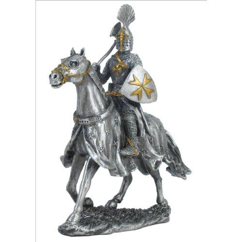 Zinn-Ritter Malteser auf Pferd Axt und Schild (Zinn) -