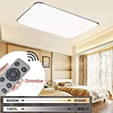 MYHOO 72W Modern Dimmbar LED Ultraslim Deckenleuchte Badleuchte Deckenlampe Flurleuchte Silber (3000-6500K)