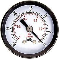 """Moliies 1-1/2""""Secador de presión de vacío para Servicios públicos, Mini Blk.Steel 1/4"""" Center Back, 30HG / 0PSI Instrumentos de medición de probadores de presión"""