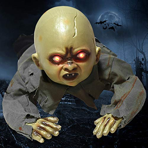 Mädchen Groll Kostüm - bdrsjdsb Halloween Party Dekor LED Animiert Krabbeln Baby Zombie Ghost Sound Puppe Spukhaus Prop Geist#None