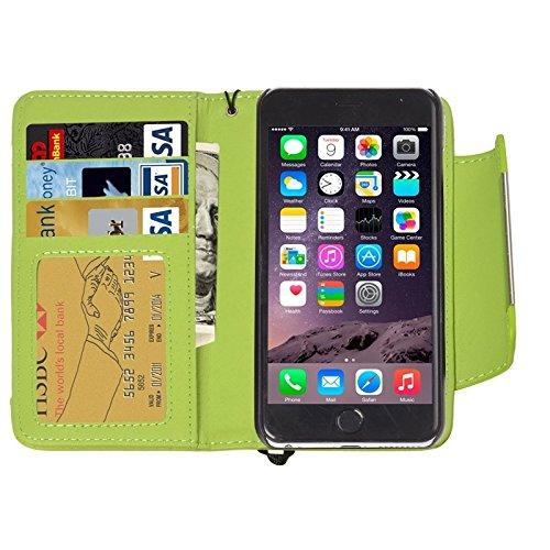 Wkae Case Cover 2 in 1 trennbare geldbeutel stil magnetische flip - ledertasche mit kordel für iphone 6 &65 ( Color : Green ) Green