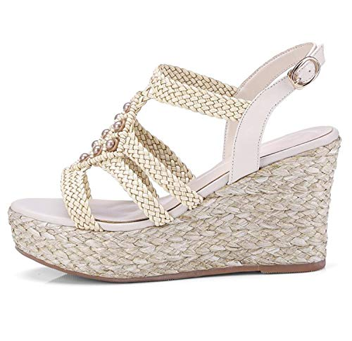 EARIAL& Arden Furtado 2018 Summer high Heels Wedges Buckle Strap Platform Genuine Leather Gladiator Fashion Sandals Women Bohemia Shoes apricot 36