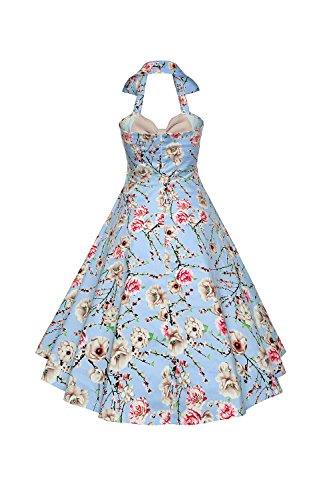 Les Femmes Vintage Des Années 1950 Halter Des Motifs Floraux Hepburn Style Swing Robe Plissée apricot