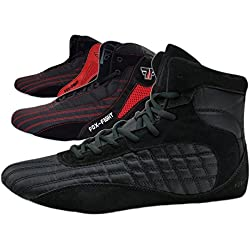 FOX-FIGHT - Zapatillas de Lucha Libre de Piel para Hombre, Color Negro, Talla 43