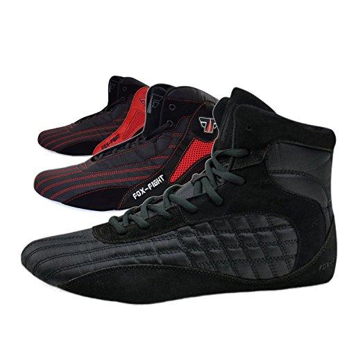 FOX-FIGHT Kampfsport Schuhe Ringer Schuhe athletik Fitnesschuhe Bodybuilding (44, Schwarz/Rot) - Schuhe Weiß Boxing