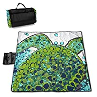 """MZZhuBao Cute Sea Turtle Painting Folding Portable Picnic Blanket 57"""""""" x59 Outdoor Water Resistant Sand Proof Beach Blanket Mat with Tote Bag for Family Hiking Travelling"""