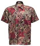 Herrenhemd Kurzarm Thai Seide Vintage gemustert (Rot, XL)