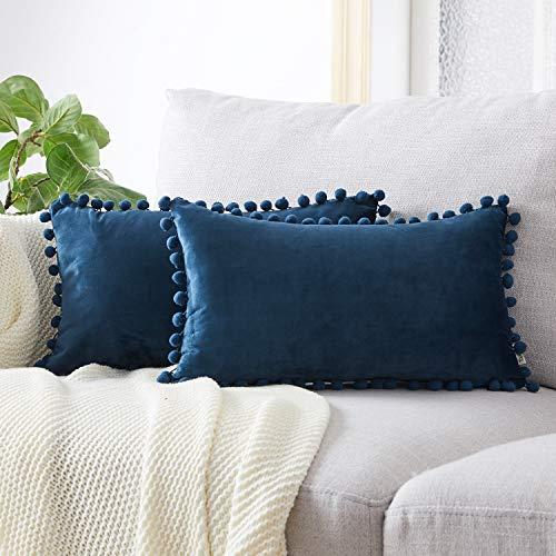 Topfinel juego 2 Hogar cojín terciopelo Decorativa Almohadas Fundas con pelota de color sólido Para Sala de Estar sofás 30x50cm Azul