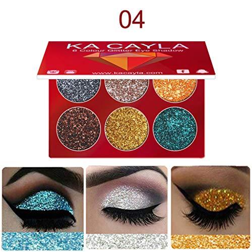 6 Farben Lidschatten Palette, Kosmetik Set Makeup kit Lidschatten Glow Shimmer diamond, Highlighter...