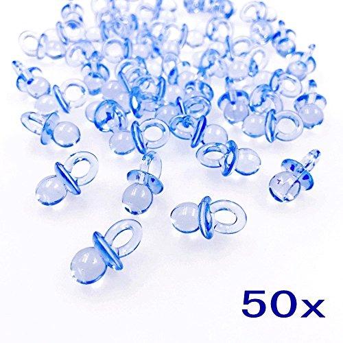 Foto de JZK 50 x Azul acrílico chupones chupete dispersión mesa confetti partido favor accesorios decoraciones para fiesta bienvenida bebé ducha boda fiesta cumpleaños