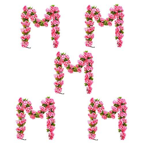 Blumengirlanden Rattan 5 Bundles Kirschblüte Reben Wandbehang Rohr Dekoration Künstliche Pflanze Für Esstisch Wohnzimmer Hochzeit Dekoration Multi Farbe (Color : Red) Bundle Reben