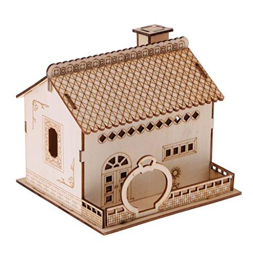 MagiDeal Hucha Caja de Ahorro de Monedas Dineros Forma de Villa de Madera Regalo Creativo Decoración de Casa - A