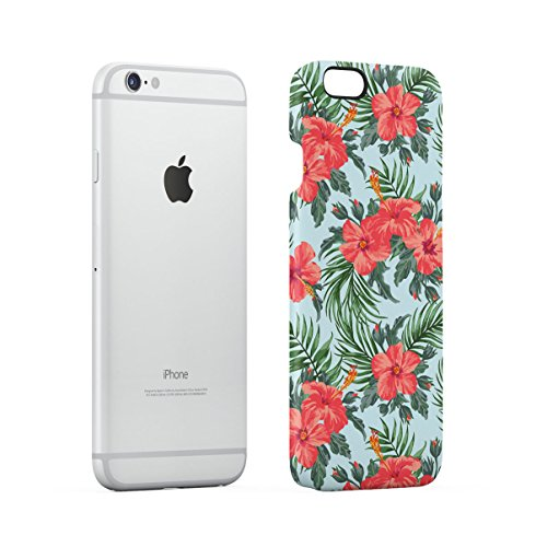 Tropical Flowers Pink Lotus Chevron Pattern Apple iPhone 6 , iPhone 6S Snap-On Hard Plastic Protective Shell Case Cover Custodia Pastel Hibiscus