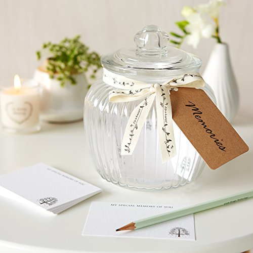 Gedenk-Glas und Gedenkkarten für Erinnerungstisch bei Beerdigungen, Kondolenzbuch - von Angel & Dove, Jar & 50 cards