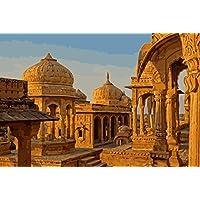 Gyhjnk Pintura Al Óleo De Diy Bata Bagh Temple India By Numbers Landscape Paint En La