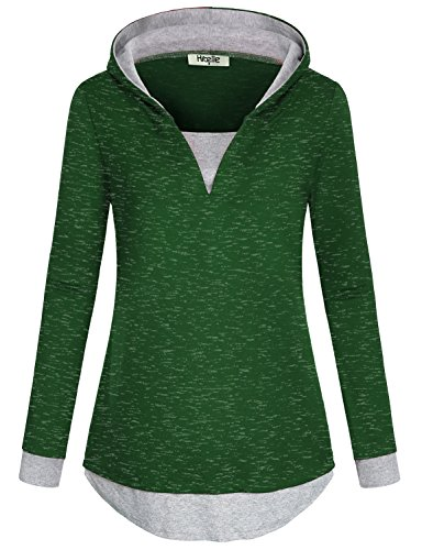 Hibelle Pullover für Frauen V-Ausschnitt, Langarm Bluse Kontrast Farbe Roomy Cozy Casual Extender Hoodie Pullover Workout Kintting Tunika Sweatshirt Tops Grün Medium - Geringes Gewicht-hoodie T-shirt
