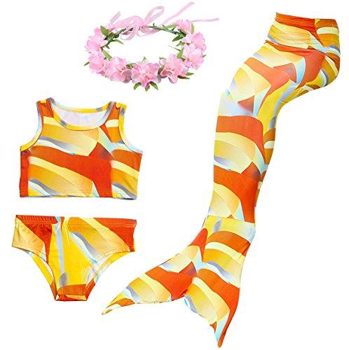 Cosplay Kostüm Badebekleidung Meerjungfrau Shell Badeanzug 3pcs Bikini Sets mit einer Flosse und einer Kränze Tolle Geschenksidee ! (130, Lebhaft Orange) (Orange Mädchen Kostüme)