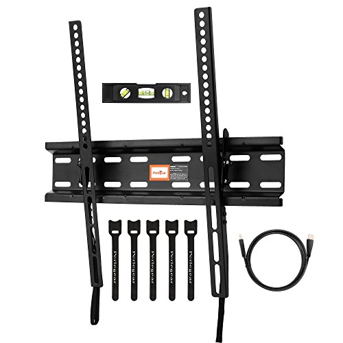 "Perlegear Tilt TV Wall Bracket for 23""-55"" TVs - TV Mount Holds up to 66lbs - Low Profile Design - Prevents Neck/Eye Strain - Bonus 10ft HDMI cable,Concrete Anchors,Bubble Level & Cable Ties"