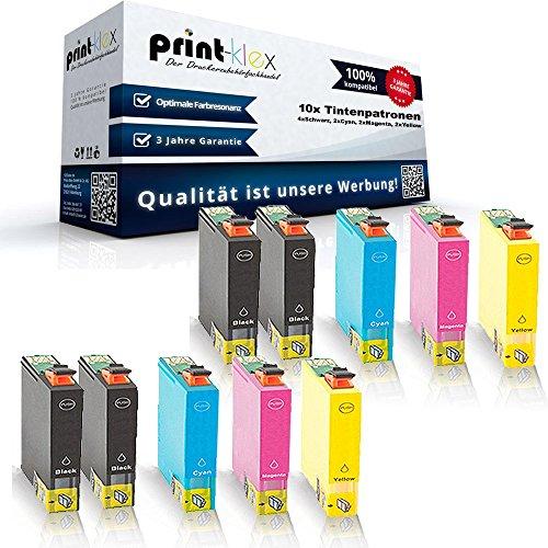 Preisvergleich Produktbild 10x Kompatible Tintenpatronen für Epson Workforce WF7515 WF7521 WF7525 T1291 T1292 T1293 T1294 - 4x Black 2x Cyan 2x Magenta 2x Yellow