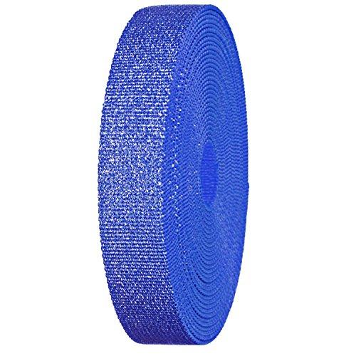 Glitzer Leinwand Gurtband Rolle 3,2cm Breite stabiler Gurt für Gürtel, Taschen, Basteln 5 Yard Roll blau glitzernd (Leinwand Gürtel Gurtband)