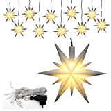 Dekohelden24 10er Set Weihnachtssterne aus Kunststoff in weiß, inkl. LED Beleuchtung und Adapter, für Innen und Außen geeignet. Maße je Stern L/B / H: 13,5 x 5,5 x 12 cm.