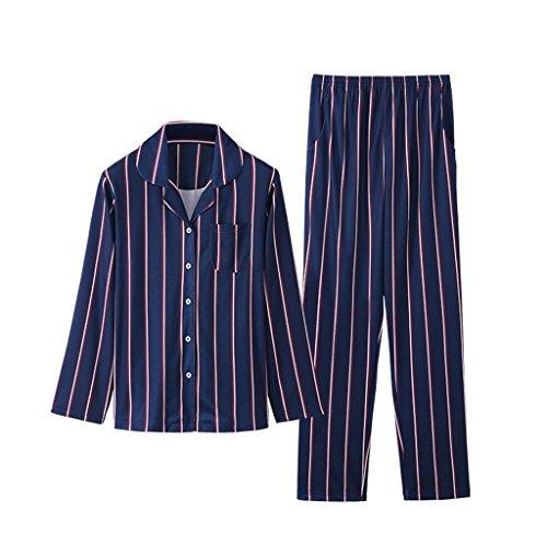 ALUK- Autunno e inverno - pigiama abiti da servizio a righe in cotone a maniche corte ( Colore : Gem blue , dimensioni : M ) Gem Blue