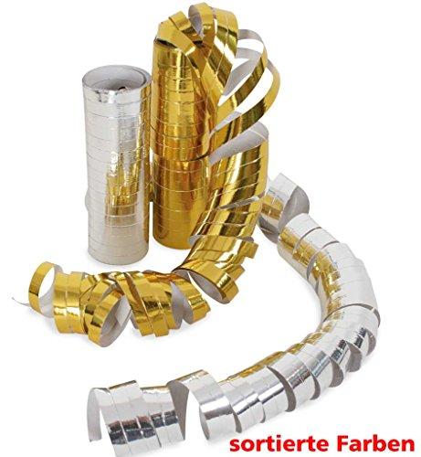 FASCHING 34024 Luftschlangen-Rolle, sortiert gold o. silber NEU/OVP