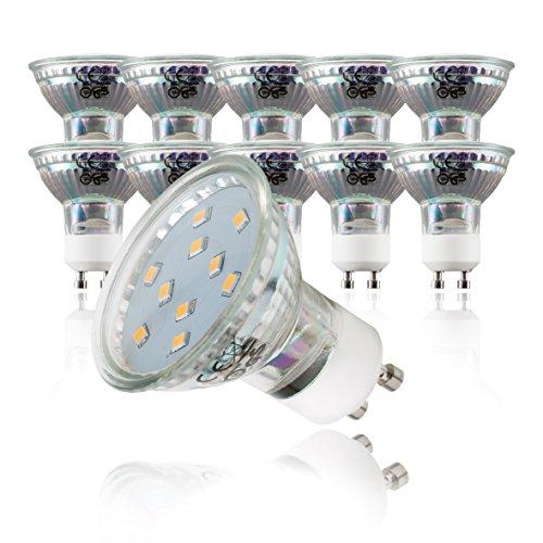 1-licht Halogen-wand-lampe (LED Leuchtmittel I GU10 Lampenfassung I 10 x 3 W Glühbirnen I warm-weiß leuchtende Glühlampen I 10er Set I ersetzen 30 W Halogen Lampen I Reflektorform I 230 V)