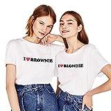 Friends Shirts für Zwei Damen Mädchen bset Friends Beste Freundin T-Shirt 2 Stücke Freundschaft BFF Shirt Sommer Baumwolle Tops(Weiß,Brownie-L+Blondie-L)