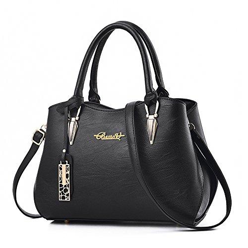 BestoU Damen Handtasche Schwarz groß Leder Damen Schultertasche Frauen Umhängetasche (Schwarz)