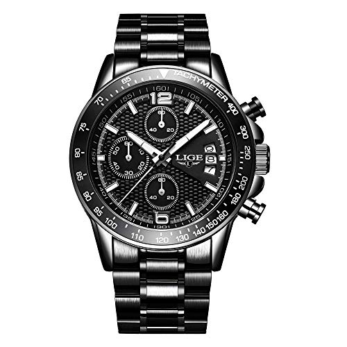 Herren Uhr Sport Chronographen Quarz Wasserdicht Datum Schwarz Watches for Men LIGE0002