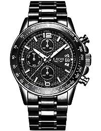 Relojes Hombres Marca de Lujo LIGE Moda Casual Reloj de Cuarzo analógico Hombre Acero Inoxidable Fecha