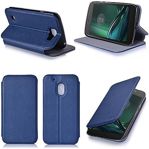 Azul Cuero Funda Folio Carcasa para Lenovo Motorola Moto G 4 PLAY Generación 2016 Dual Sim Piel Case Cover con Soporte - Flip cover caso para Moto G4 PLAY 5 pulgadas (PU Cuero blue - Accesorios XEPTIO case
