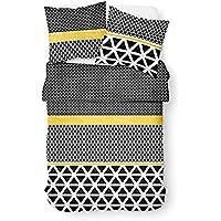 Today 013039 Enjoy Braza - Juego de cama con funda nórdica de 220 x 240 cm y 2 fundas de almohada de 63 x 63 cm, algodón, algodón, Blanc/NoirJaune, 220 x 240 cm