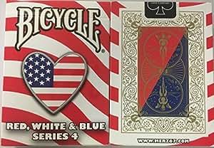 bicyclette rouge, blanc et bleu, la série de quatre cartes à jouer conception de coeur Bicycle Red White and Blue Series 4 Heart Design Playing Cards