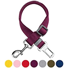Umi. Essential Classic Solid Color Adjustable Dog Seat Belt Tether, Purple, Durable Safety Car Vehicle Seatbelts Leads Use with Harness