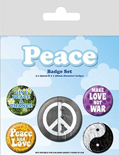 Set: Paz, Make Love Not War, 1 X 38mm & 4 X 25mm Chapas Set De Chapas (15x10 cm) Y 1x Pegatina Sorpresa 1art1®