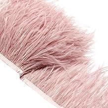 ROSENICE Plumas de avestruz hechas a mano Franja Ajuste para coser manualidades decoración 2M (Rosa)
