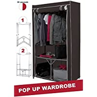 Extra Strong Metal Frame Canvas Wardrobe With Shelf And Shoe Storage In Grey