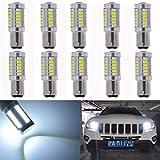 KaTur 1016 1034 1157BAY15D LED-Birne für KFZ, 18 SMD, 360 Lumen, 12V, Ersatz-Birne für ursprüngliche Innenbeleuchtung/Bremslichter/Rücklichter/Blinker/Fahrtrichtungsanzeiger/Rückfahrlicht von Autos, Wohnmobilen, Wohnwagen, 10er-Pack