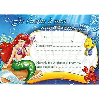 10 Cartes Invitation Anniversaire Ariel La Petite Sirène Avec Des Enveloppes Bleues